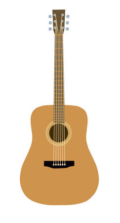 guitar on a white background. Design element for poster, card. Vector illustration. Flat vector illustration.