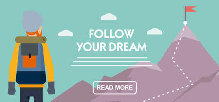 Climber with a backpack standing near of the mountain. Travel banner. follow your dream. Flat cartoon illustration vector Imagens