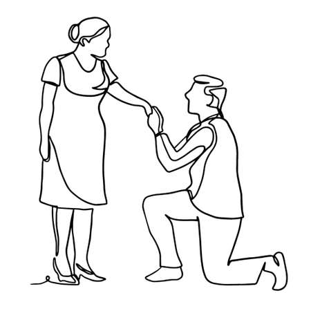 A man standing on his knee offers his hand and heart to a woman. Vector illustration isolated on white background. Continuous line drawing. Vector monochrome, drawing by lines Illustration