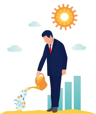 Vector cartoon illustration, flat style, business promotion, advertising, business promotion and development. businessman watering seedling-your business resources money, people, advertising, idea Archivio Fotografico - 124391762