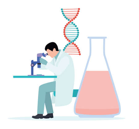Laboratory assistant working with microscope. Laboratory assistant working at the laboratory. Laboratory assistant using a microscope. Vector flat illustration isolated on white background.