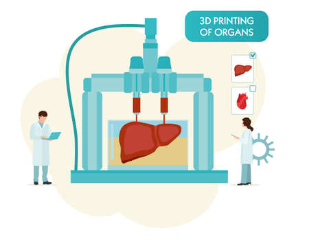 3D Bioprinter. Human Organs replicated concept. Vector flat illustration