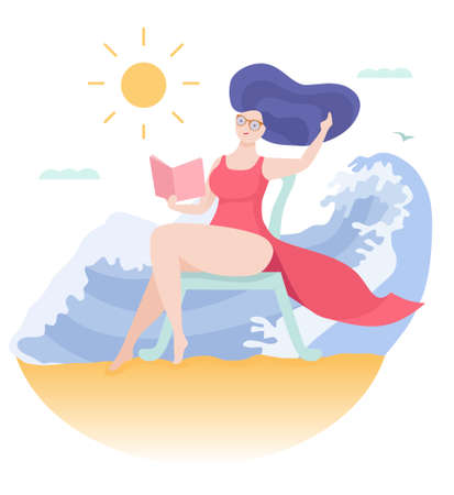 Young woman reading a book at the beach. Colorful vector illustration in cartoon style. Archivio Fotografico - 126346567