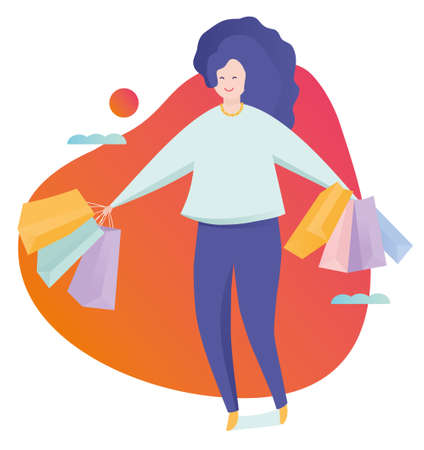 Very happy beautiful young woman in casual clothing with shopping bags. Colorful vector illustration in flat style.