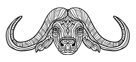 Buffalo animal  for adults raster illustration. Anti-stress  for adult. Black and white lines. Lace pattern. Collection of animals. Archivio Fotografico - 124391777