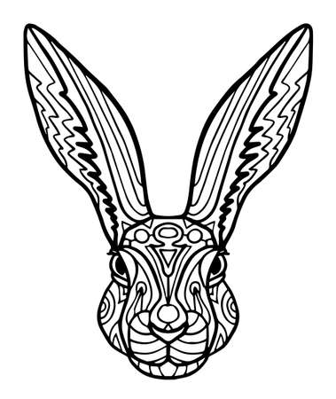 rabbit for coloring page, shirt design effect, , tattoo and decoration. Collection of animals. Standard-Bild - 124391778