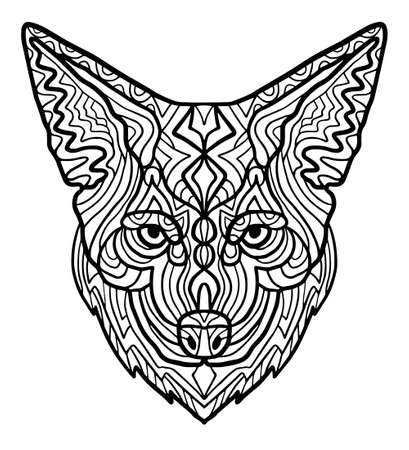 Wild beautiful coyote head hand draw on a white background. Zoo animal ethnic tribal african print suits as tattoo, logo template, decoration, coloring book sketch, Collection of animals. Archivio Fotografico - 124391779