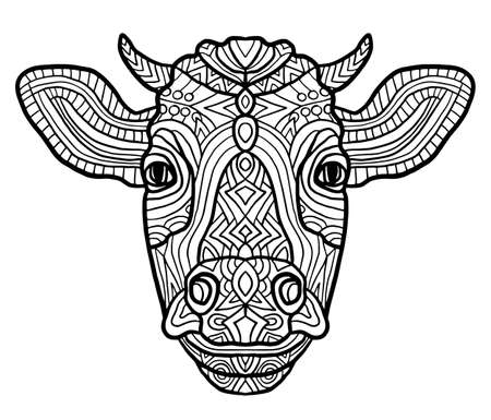 Adult coloring page cow. Zen art style. Zoo animal ethnic tribal african print suits as tattoo, logo template, decoration, coloring book sketch, Collection of animals. Archivio Fotografico - 124391782