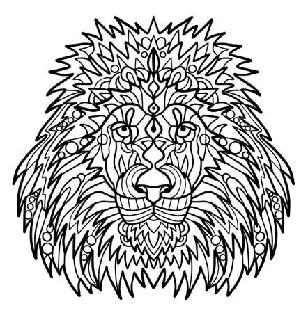 The head of a lion with a big mane. Meditative coloring of antistress. Arrows, strips, scales, lines. Logo, print on the shirt. Collection of animals. Vettoriali