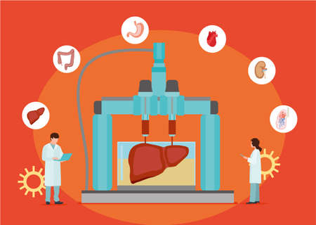 Concept of bioprinting of tissues and organs on red background. Colorful vector illustration in flat style. Archivio Fotografico - 125709717