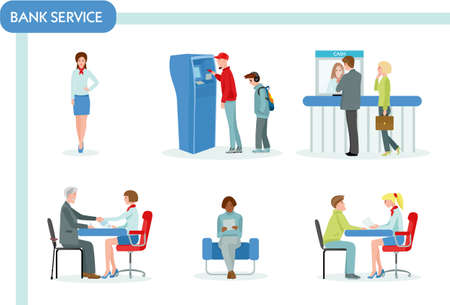 Bank staff and clients in bank office. Finance management concept flat design. Business and queue, workplace and discuss, atm and working manager, Colorful vector illustration in flat cartoon style. Archivio Fotografico - 124392932