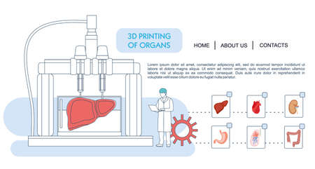 Landing page template. Bioprinting concept, 3D printing of the liver, stomach, lungs, kidneys and heart. scientists with 3D printer. Colorful vector illustration in flat outline style. Vettoriali