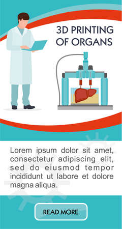 Banner of 3D printing. Vector illustration of 3D printing process. Concept of bioprinting of tissues and organs. Colorful vector illustration in flat cartoon style Standard-Bild - 124392933