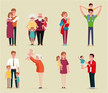 Set of happy family, illustration of groups different families. Colorful vector illustration in flat style.