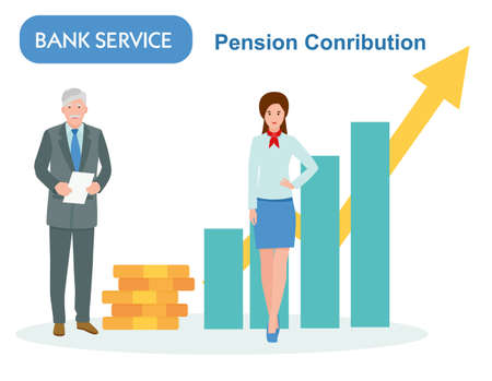 pension savings in the Bank. Income growth chart, banking services, financial report graph. Professional flat cartoon vector illustration Archivio Fotografico - 124378858