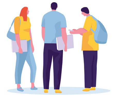 Group of students are jumping on a white background. Cheerful young people with backpacks and books. Vector illustration in a flat style Archivio Fotografico - 124303571
