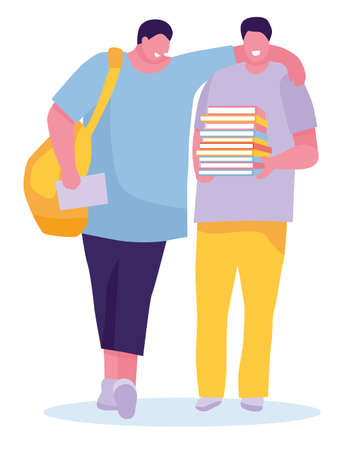 Young smiling students with books. Isolated over white background. Cheerful young people with backpacks and books. Vector illustration in a flat style Archivio Fotografico - 124303572