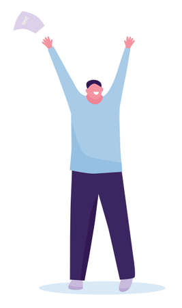Happy student with arms raised on air. success in the exam. Vector illustration in a flat style Archivio Fotografico - 124281795