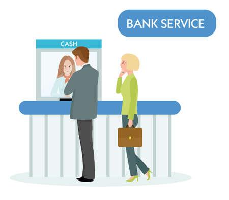 caissière de banque servir l'homme d'affaires sur fond blanc. Illustration vectorielle dans un style plat