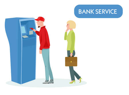 Queue at the ATM. People waiting in line near ATM machine on white background. Vector illustration in a flat style Archivio Fotografico - 124281797