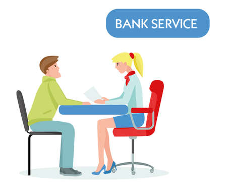 A man takes a loan from a Banktaking loan concept, illustration on white background. Vector illustration in a flat cartoon style Archivio Fotografico - 124392934