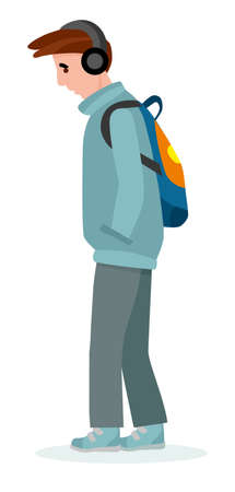 Sad Teenager on the City Street. Colorful vector illustration in flat cartoon style. Archivio Fotografico - 124392935