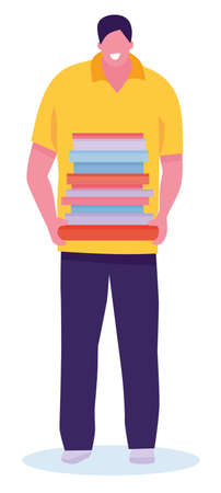 Happy bookworm. Handsome male student holding textbooks and smiling isolated on white background. Vector illustration in a flat cartoon style Archivio Fotografico - 124392936