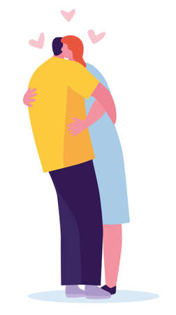 Couple hug illustration isolated on white background. Vector illustration in a flat style Archivio Fotografico - 124281803