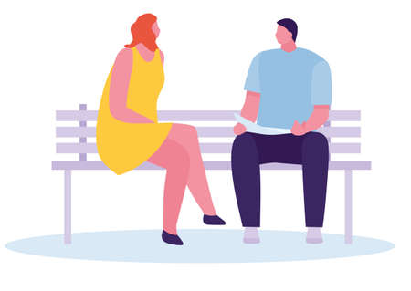 Happy male and female students sitting on bench at university campus isolated on white background. Vector illustration in a flat style Archivio Fotografico - 124281806