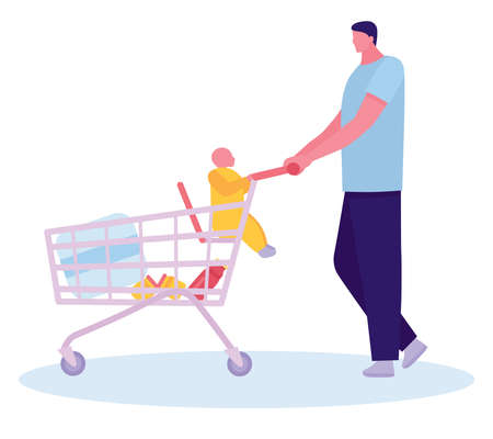 Father with baby in the car park, going shopping. Beautiful and adorable baby in shopping cart. Baby sit in supermarket cart. Concept of young inexperienced father. Flat cartoon illustration