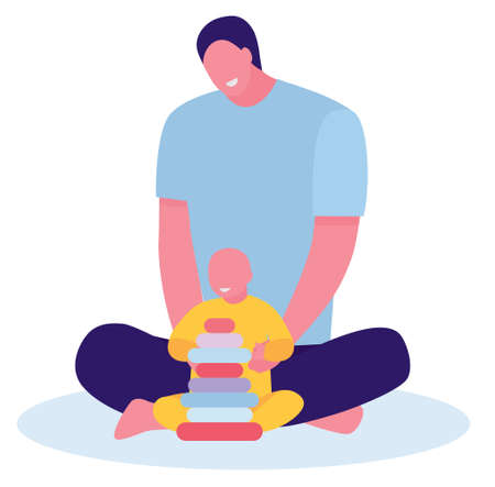 Dad and toddler son playing on floor at home. Concept of young inexperienced father. Flat illustration