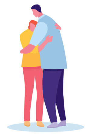 happy father and his daughter hugging. Coloring vector cartoon flat illustration. Illustration