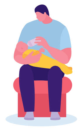 happy young father feeding newborn baby with milk bottle on couch at home. Flat design style vector illustration. Archivio Fotografico - 124227186