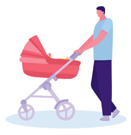 Father walking with a stroller and a baby in the city streets. Concept of young inexperienced father. Flat illustration