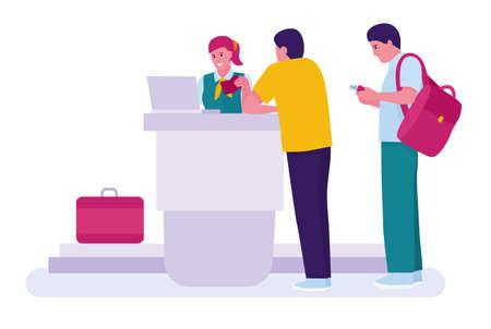 Homme avec passeports et cartes d'embarquement à la réception de l'aéroport. inscription sur airlin. Fond blanc. Illustration vectorielle dans un style cartoon plat Vecteurs