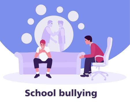 adolescente en la recepción de un psicólogo sobre el acoso escolar. concepto de violencia adolescente. Ilustración de vector de estilo plano