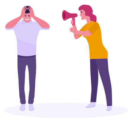 Furious woman shouting at her boyfriend. White background. Vector illustration in a flat style