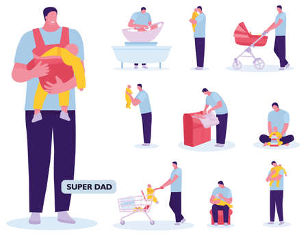 Fatherhood child-rearing shopping playing walking with baby. White background. Vector illustration in a flat cartoon style Archivio Fotografico - 124392938