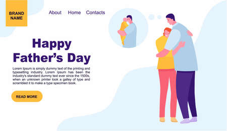 young woman hugging her father outside. fathers day. Landing page template of family. web page design for website and mobile website. Vector illustration flat cartoon style Standard-Bild - 124392939