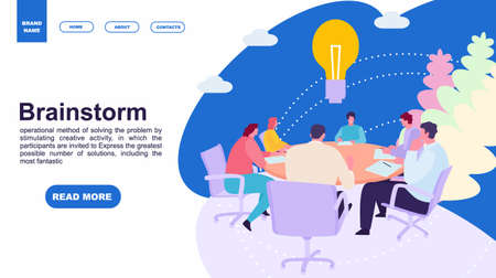 Business people meeting at office. Brainstorming concept. Landing page template of family. web page design and mobile website. Vector illustration flat cartoon style Standard-Bild - 124392940