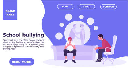 Teenager at the reception of a psychologist about school bullying. teenage concept. Family psychology concept. Website landing page template. Vector illustration flat style