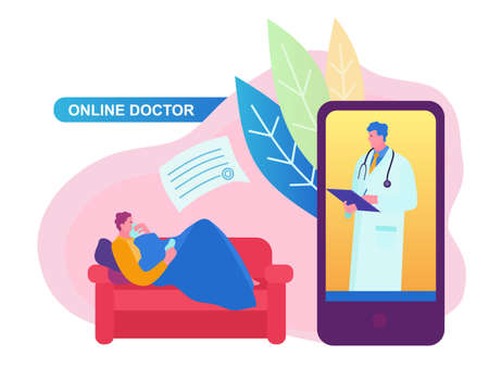 Doctor online concept with character. Can use for web banner, infographics, hero images. Flat cartoon vector illustration isolated on white background. Standard-Bild - 124392942