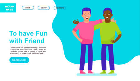 Happy meeting of two friends. Website or landing page. Multicultural friendship concept illustration. Vector illustration in a flat style Vettoriali