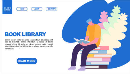 Student Reading book in library. Web page design templates. Modern vector illustration concepts for website and mobile website development. Vector illustration in a cartoon style Иллюстрация