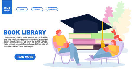 Girls students read books in library. Web page design templates. Modern vector illustration concepts for website and mobile website development. Vector illustration in a cartoon style Иллюстрация