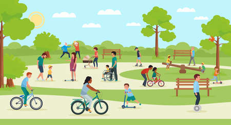 People in park. Vector illustration in flat style.
