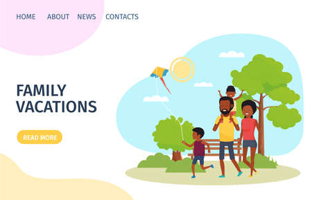 happy young family in the park. Landing page for design. Vector illustration in flat style. Иллюстрация