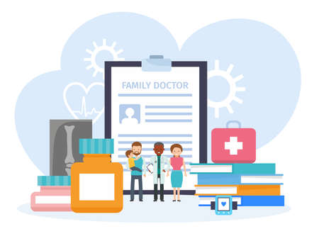 Family doctor vector illustration concept. family with doctor. Vector illustration in flat illustration.