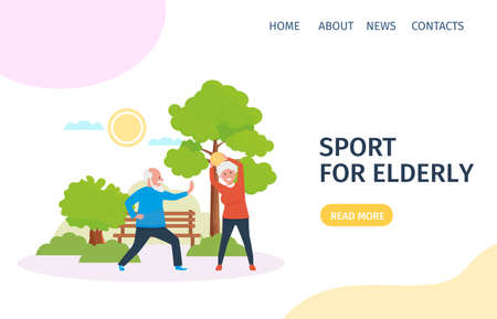 A couple of elderly spouses play sports in the Park. Landing page for design. Vector illustration in flat style.