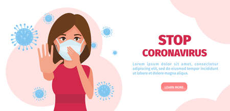 Woman in respirator and protective clothing with a hand up. Stop Coronavirus 2019-nCoV concept. Vector illustration Иллюстрация